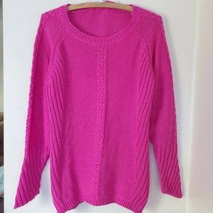 Magenta knit long sweater